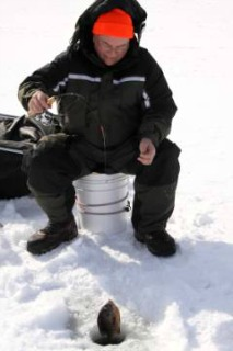 Ice Fishing for Bluegills in Winter